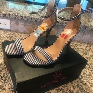 Blue Gingham ankle strap heels size 8
